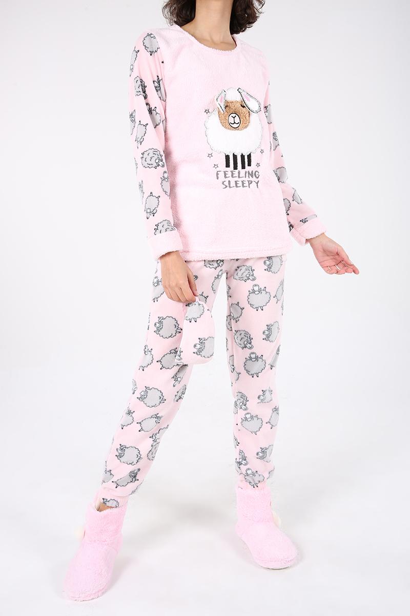 %100 Pamuk Kuzu Desenli Üçlü Pijama Takımı