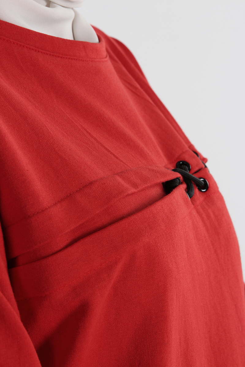 %100 Pamuklu Kuşgözü Detaylı Sweatshirt