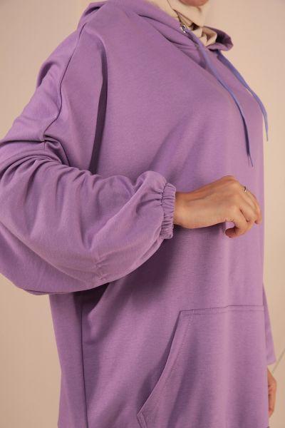 Kapüşonlu Cepli Salaş Sweatshirt