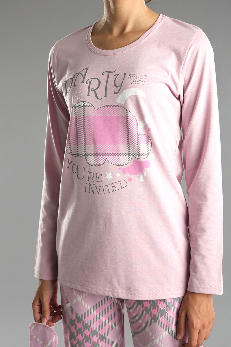 3 Parça Baskılı Pamuklu Pijama Takımı