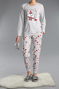 3 Parça Baskılı Pijama Takımı