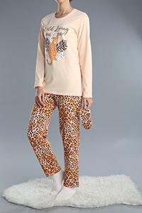 3 Parça Baskılı Desenli Pamuklu Pijama Takımı