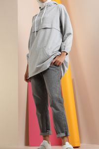 Kapüşonlu Cepli Viskon Sweatshirt