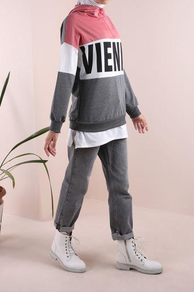 Garnili Kapüşonlu Fermuarlı Sweatshirt