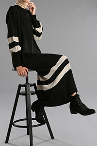 Balon Kol Çizgili Triko Elbise Tunik