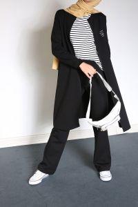 Yarece Baskılı Cepli Fermuarlı Pantolonlu İkili Takım