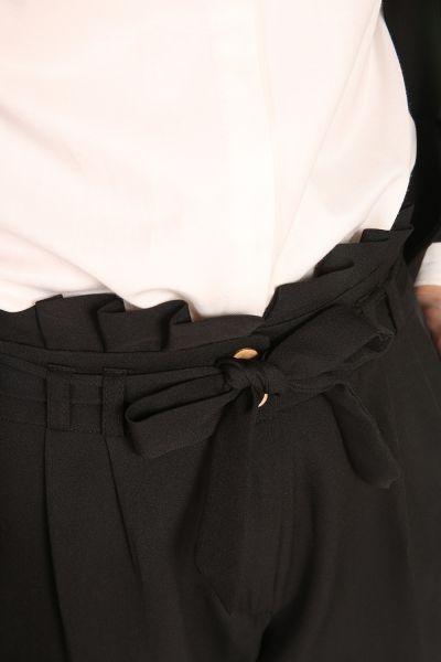 Bel Pileli Cepli Kuşaklı Pantolon
