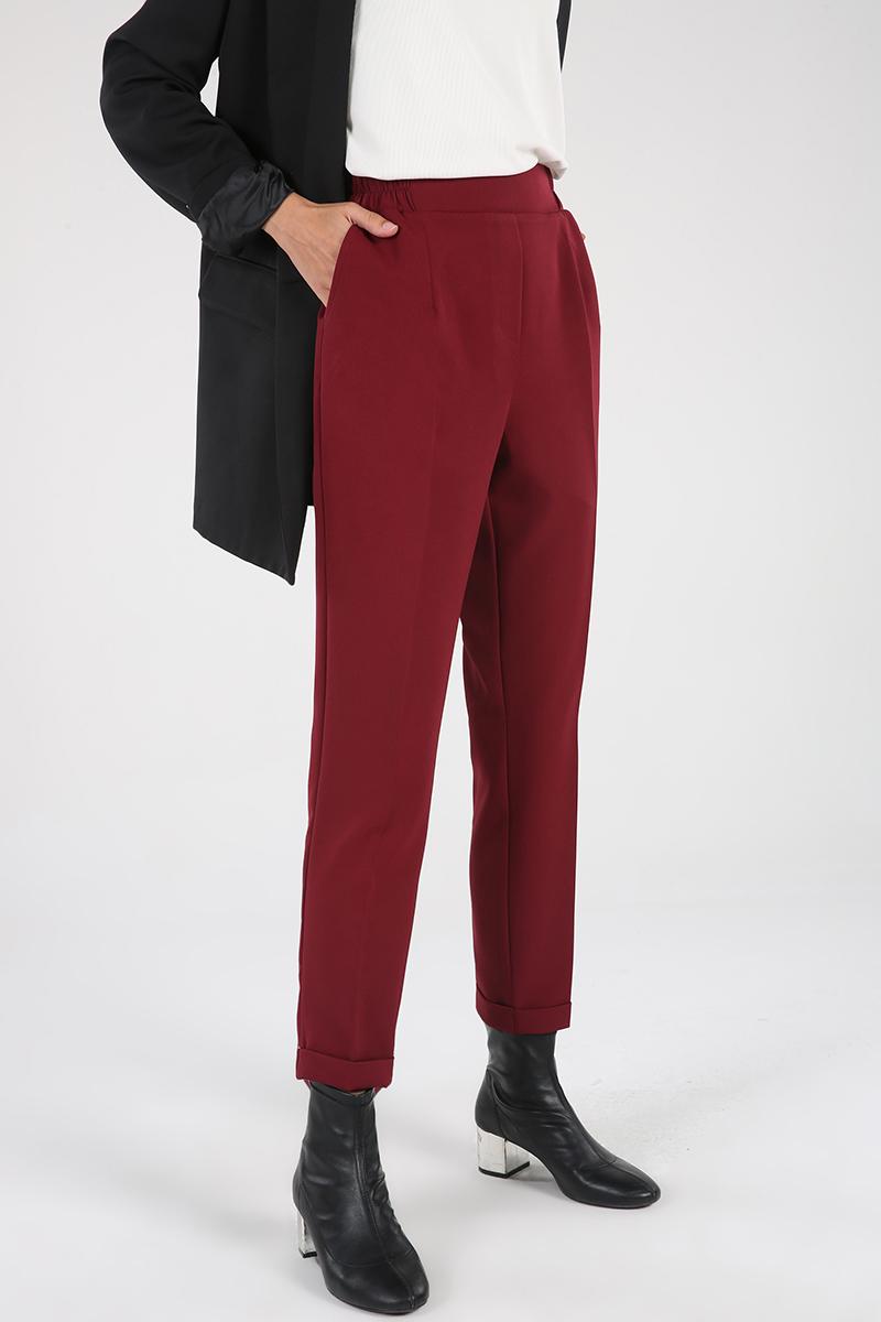 Beli Lastikli Cepli Bilekleri Kat Görünümlü Pantolon