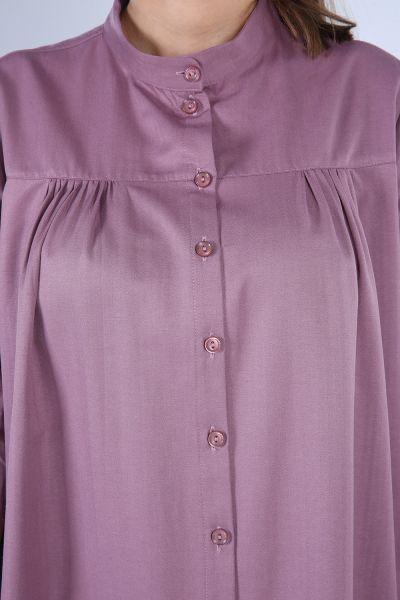 Düğmeli Büzgülü Gömlek Tunik