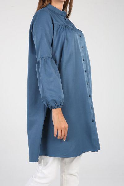 Düğmeli Pamuklu Gömlek Tunik