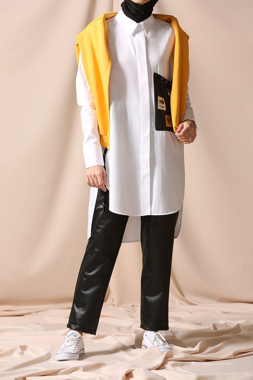 Gizli Patlı Cep Arma Detaylı Gömlek Tunik