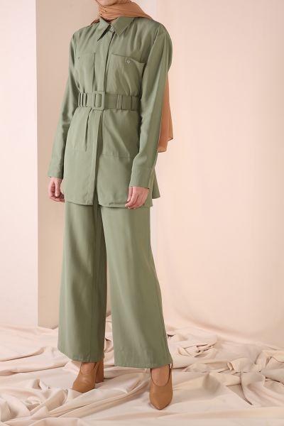 Cep Detaylı Kemerli Pantolonlu İkili Takım
