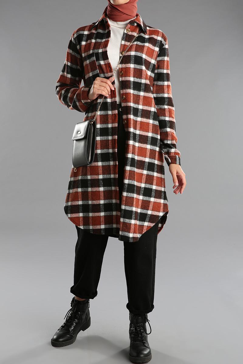 Cep Detaylı Düğmeli Oduncu Gömlek Tunik