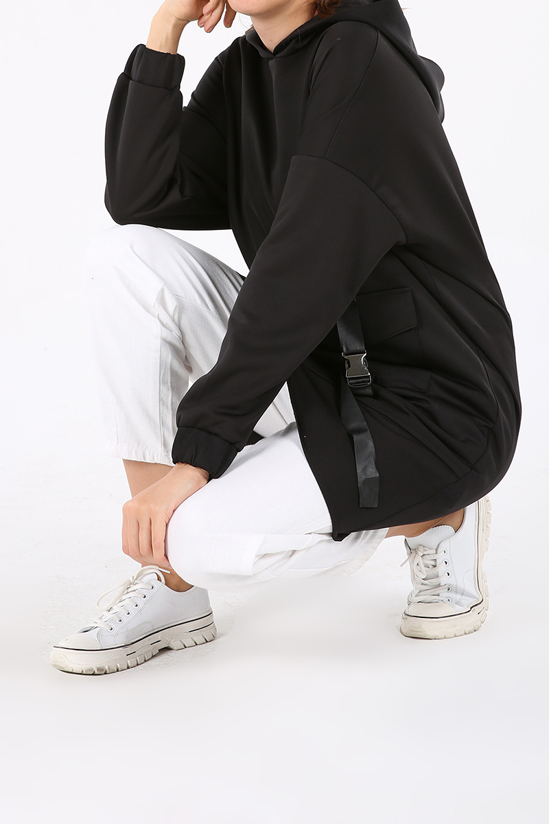 Cep Detaylı Kapüşonlu Sweat Tunik