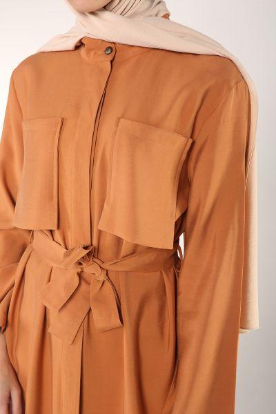 Gizli Patlı Cepli Kuşaklı Gömlek Tunik
