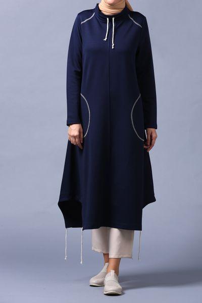 Eteğinden Bağlamalı Örme Uzun Tunik