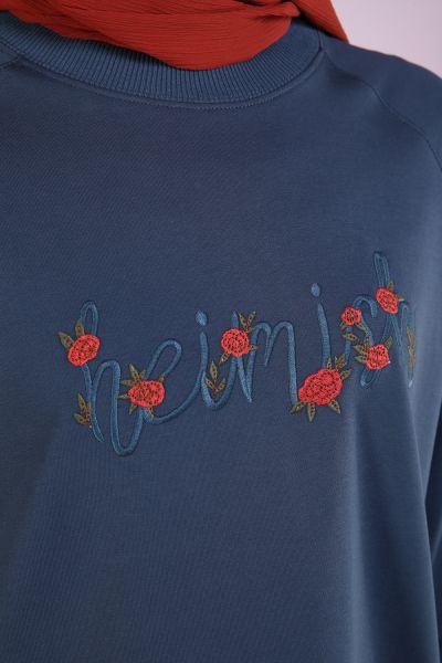Reglan Kol Çiçek Nakışlı Sweat Tunik