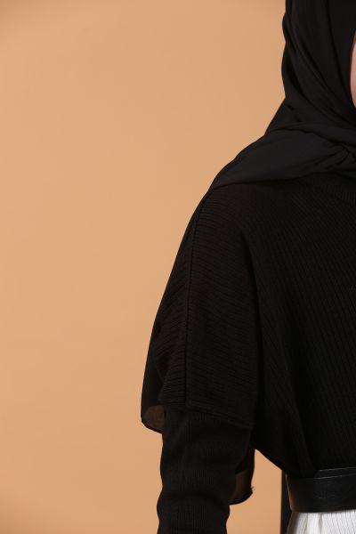 Eteği Güpürlü Çizgili Triko Elbise