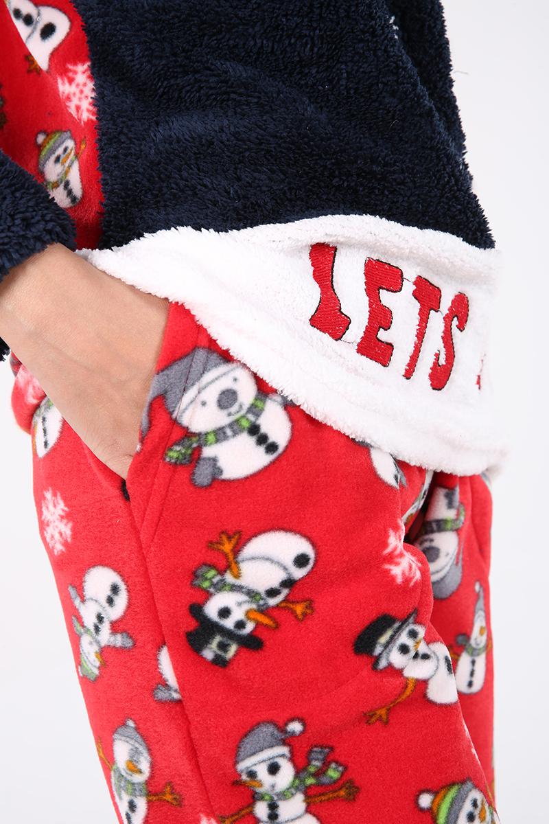Desenli %100 Pamuk Üçlü Pijama Takımı