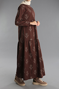 Desenli Kolları Lastikli Düğmeli Elbise