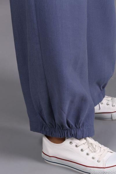 Doğal Kumaş Büyük Cepli Bel Lastikli Pantolon