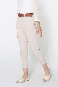 Doğal Kumaş Kemerli Pantolon