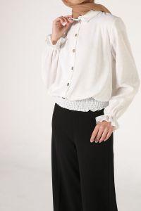 Eteği Lastikli Düğmeli Bluz