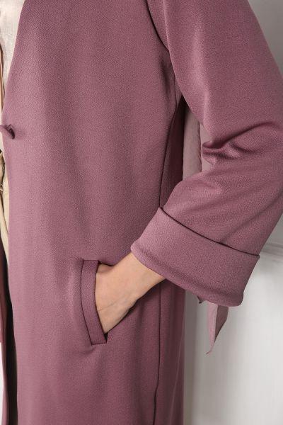 Düğmeli Cepli Uzun Ceket