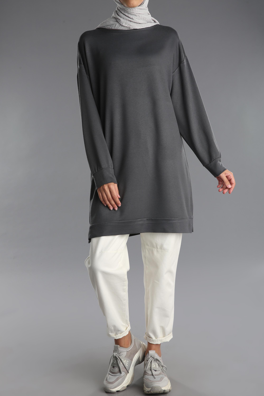Düz Manşet Penye Yırtmaçlı Tunik Sweatshirt