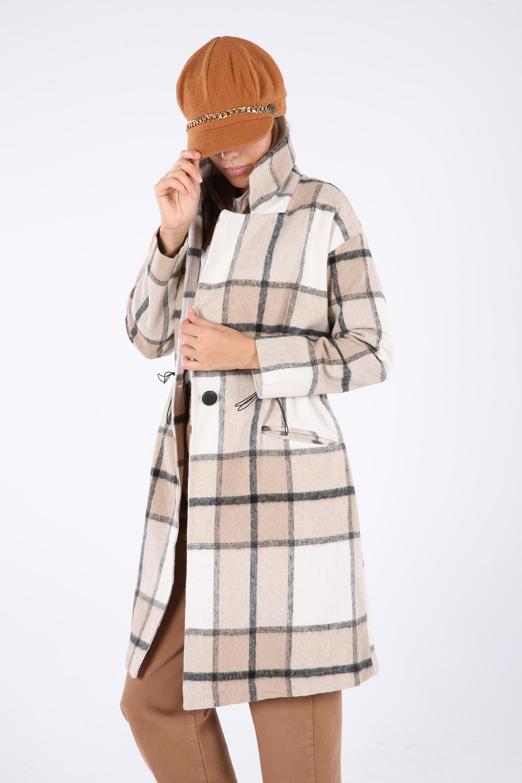 Cep Detaylı Düğmeli Ekose Oduncu Uzun Ceket