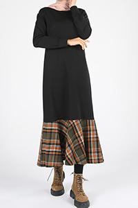 Pamuklu Eteği Ekoseli Elbise