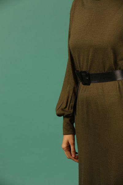 Eteği Ekoseli Kemerli Elbise
