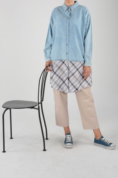 Eteği Ekoseli Düğmeli Denim Gömlek Tunik