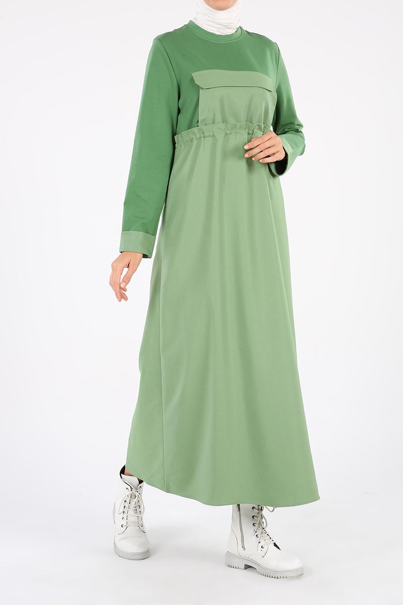 Eteği Garnili Cep Görünümlü Beli Bağcıklı Elbise