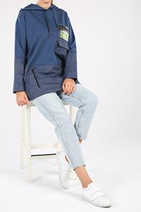 Fermuarlı Garnili Cepli Kapüşonlu Baskılı Sweatshirt