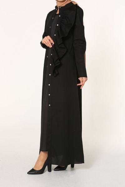 Fırfır Detaylı Çıtçıtlı Elbiseli İkili Takım
