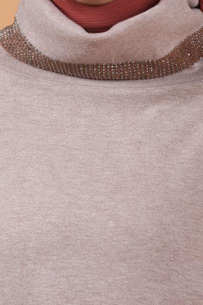 Eteği Kolları Taşlı Triko Tunik