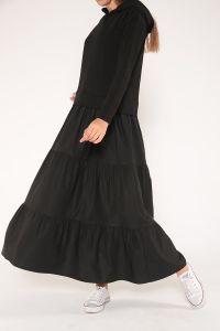 Eteği Büzgülü Kapüşonlu Garnili Elbise