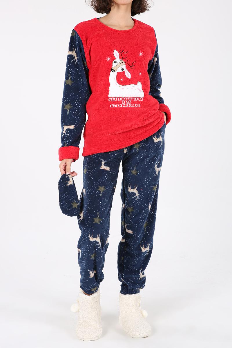 Geyik Desenli Polar Üçlü Pijama Takımı