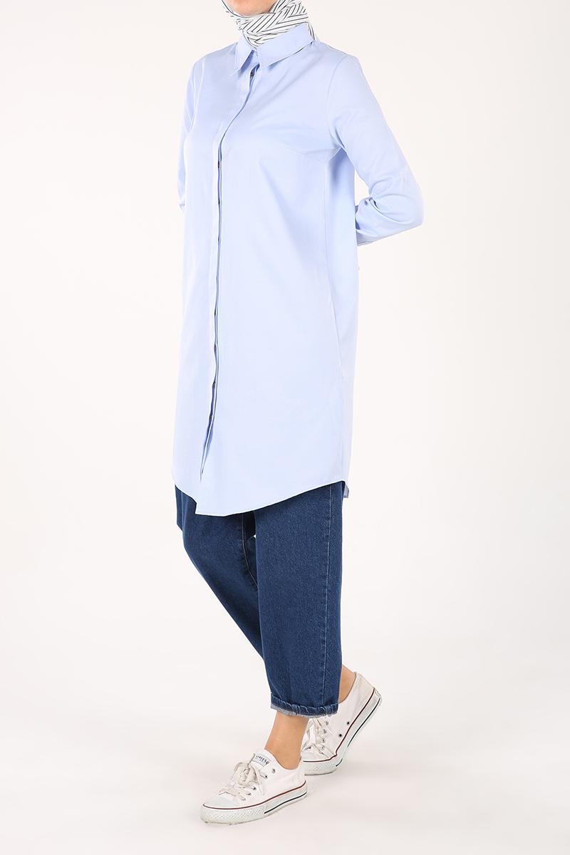 Gizli Patlı Düğmeli Gömlek Tunik