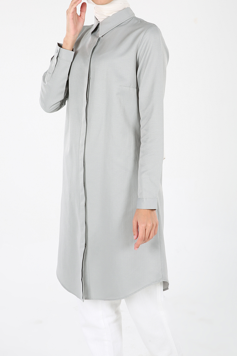 Gizli Patlı Pamuklu Gömlek Tunik