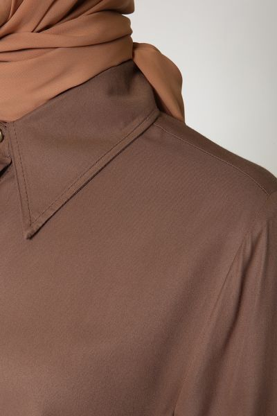 Yarece Gizli Patlı Uzun Düğmeli Gömlek Tunik