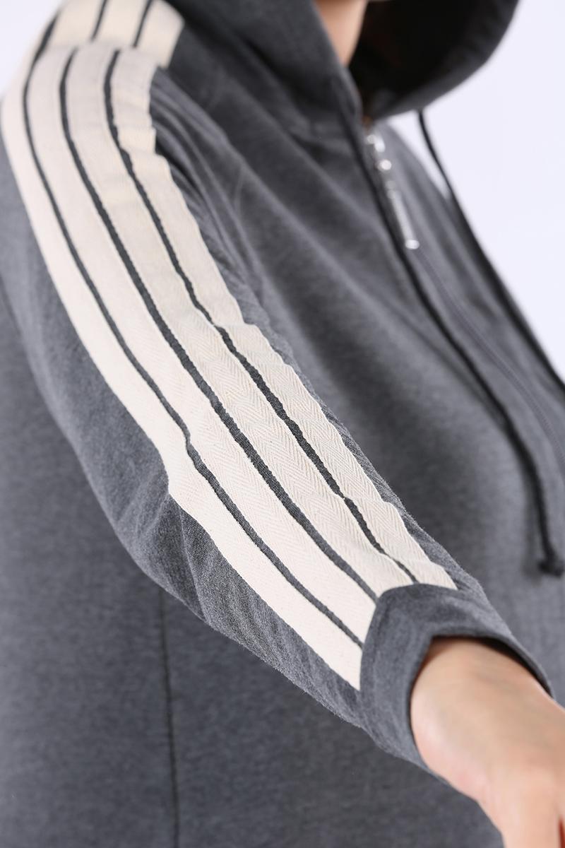 Kolları Şeritli Kapüşon Fermuarlı Hırka