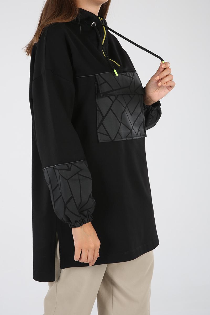 Kapüşonlu Cepli Baskılı Sweatshirt