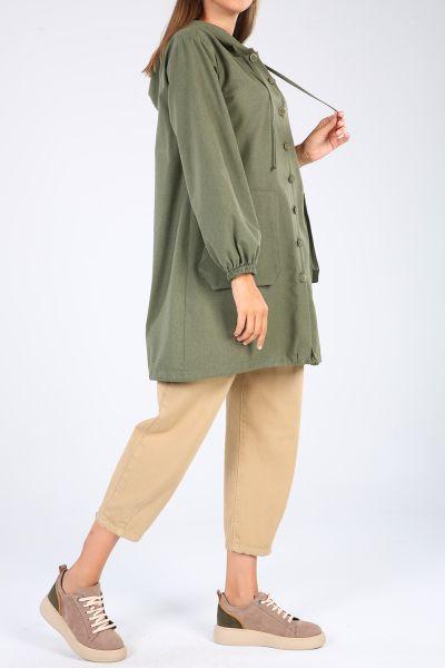 Kapüşonlu Cepli Düğmeli Gömlek Tunik