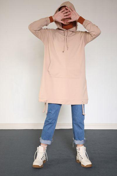 Yarece Kapüşonlu Cepli T-Kol Sweat Tunik