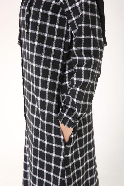 Kapüşonlu Düğmeli Ekose Gömlek Tunik