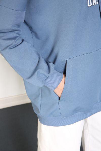 Yarece Kapüşonlu T-Kol Cepli Baskılı Sweatshırt