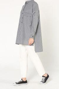 Kareli Düğmeli Gömlek Tunik
