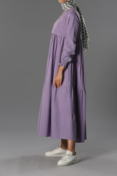 Kol Büzgülü Kat Kat Elbise